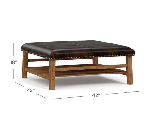Caden Ottoman by Caden Leather Square Ottoman Pottery Barn