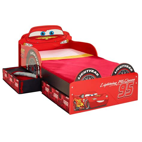 disney cars lightning mcqueen mdf toddler bed with storage