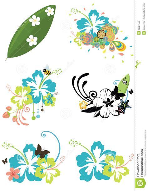 fiori hawaiani disegni sei elementi di disegno con i fiori hawaiani su summe
