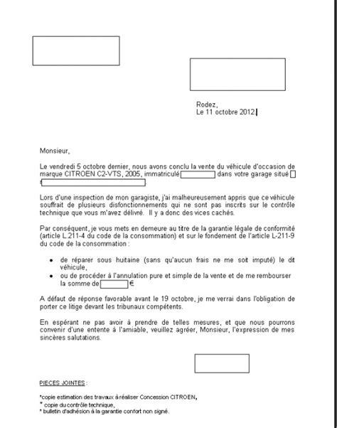 Exemple De Lettre Mise En Demeure Vice Caché Lettre Mise En Demeure Vice Cache Document