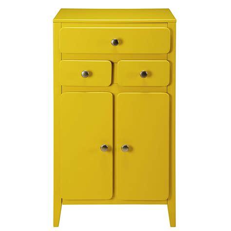 meuble d entr 233 e 2 portes 3 tiroirs jaune moutarde thelma maisons du monde