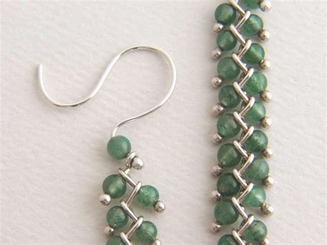 Bead Dangle Earrings sterling bead earrings dangle earrings green