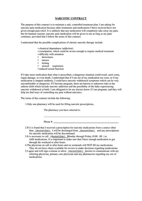 narcotic contract template top management contract templates free to in