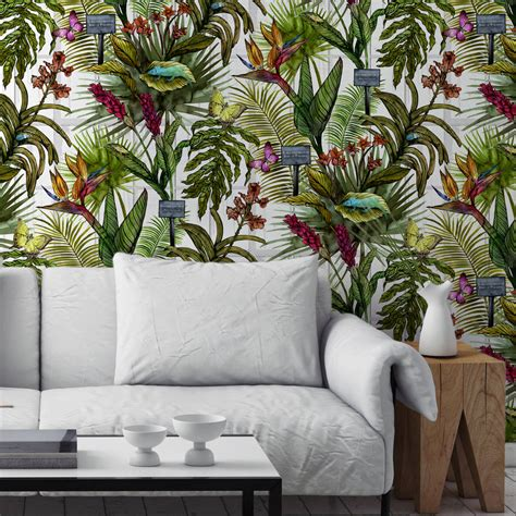 botanical print wallpaper glasshouse tropical botanical print wallpaper by terrarium