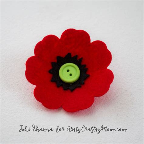pattern for felt poppy spring flowers red poppy felt craft artsy craftsy mom