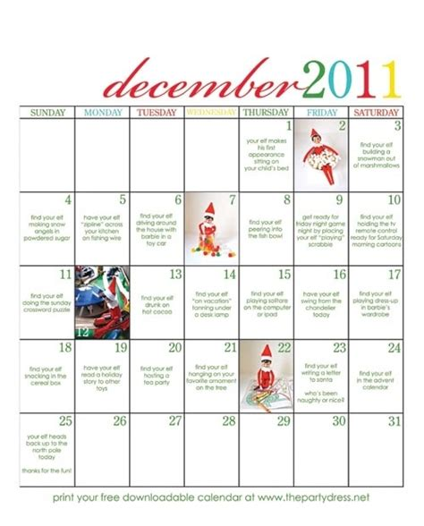 free printable elf on the shelf calendar free elf on the shelf downloadable calendar with ideas for
