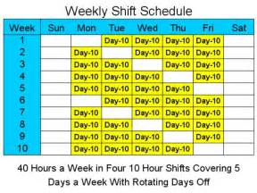 10 hour shift templates 10 hour schedules for 5 days a week 1 4