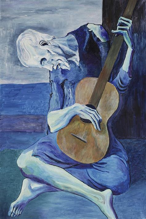 picasso paintings blue period guitar the guitarist painting by daniel johnstone