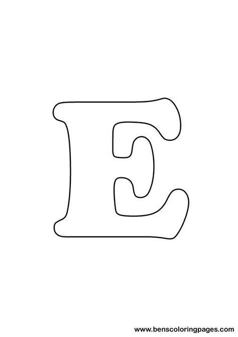e drawing free letter e coloring page