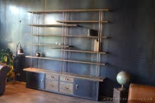 etag 232 re et biblioth 232 que en bois metal de style