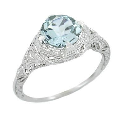 aquamarine deco engagement ring deco engraved filigree aquamarine engagement ring in 14 karat white gold 1 25 carat