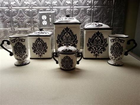 black and white kitchen canisters best ideas about damask canisters damask kitchen and