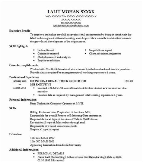 Career Objective For Mis Resume