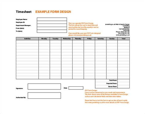 60 timesheet templates free sle exle format
