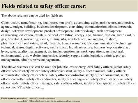 ict officer cover letter top 5 safety officer cover letter sles