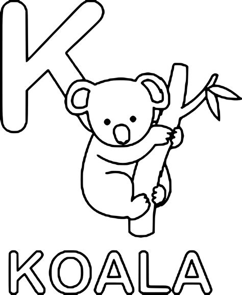 k is for koala coloring pages coloring pages