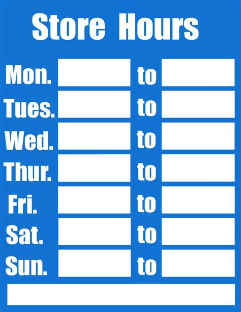 Business Hours Sign Blue Page Frames Full Page Signs Business Signs Business Hours Sign Blue Business Sign Templates