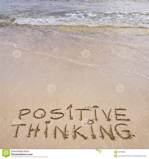background for messages positive thinking message written on sand with waves in