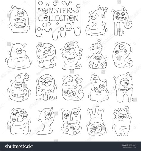 many doodle monsters vector set monsters aliens many stock vector 323716061