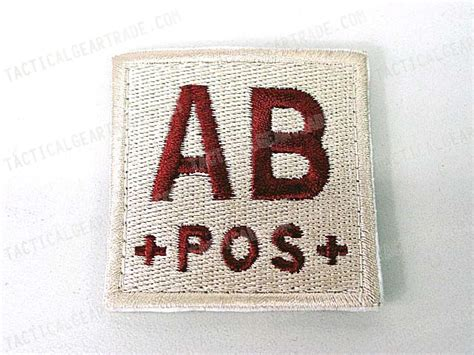 Emerson Blood Type Velcro Patch B Pos ab pos blood type identification velcro patch