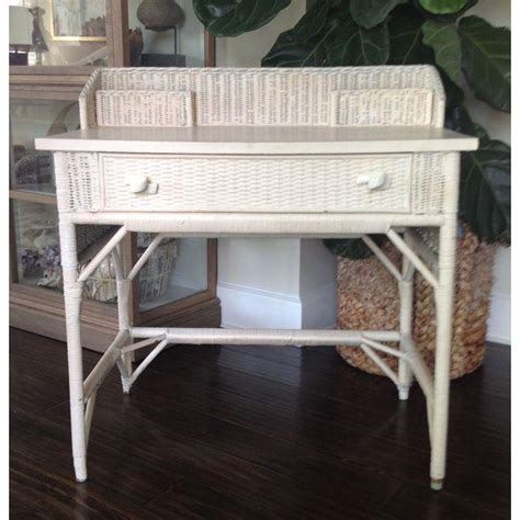 white wicker desk white wicker desk chair set chairish