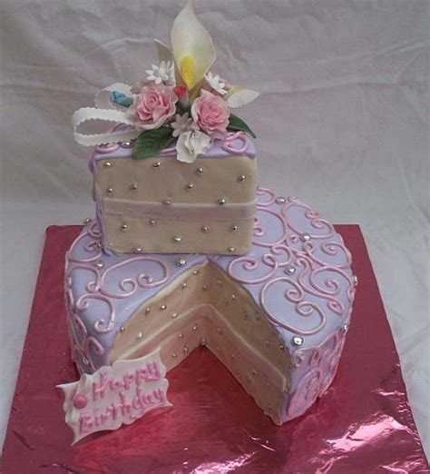 feminine birthday cake  single serving  cut  decorated