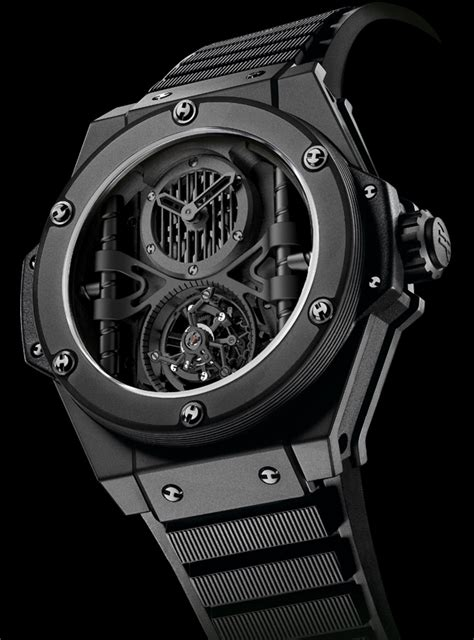 Hublot Senna Black Brown Leather top swisss hublot king power tourbillon replica watches