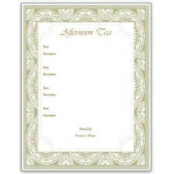 menu template hosting a tea an afternoon tea menu template for