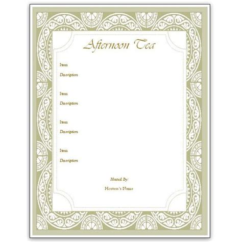 Menu Templates hosting a tea an afternoon tea menu template for