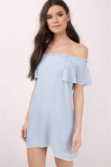 light blue off the shoulder dress cute light blue day dress off shoulder dress 58 00