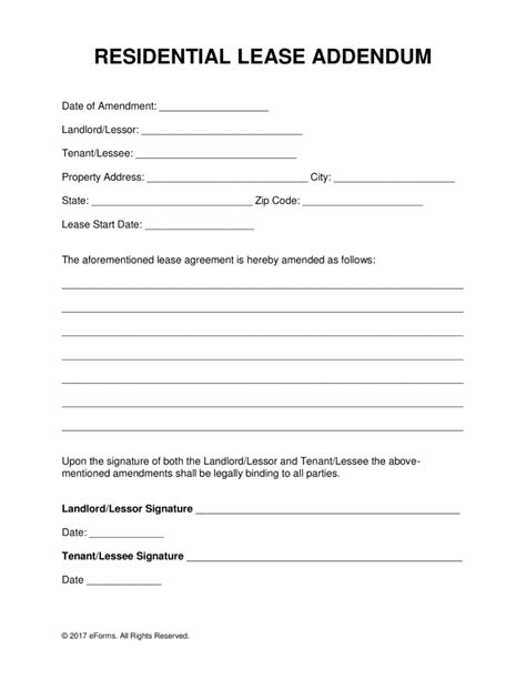 lease addendum template free residential lease addendum template pdf word