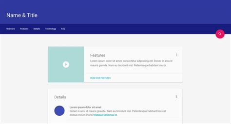 Material Design Lite Material Design Website Template