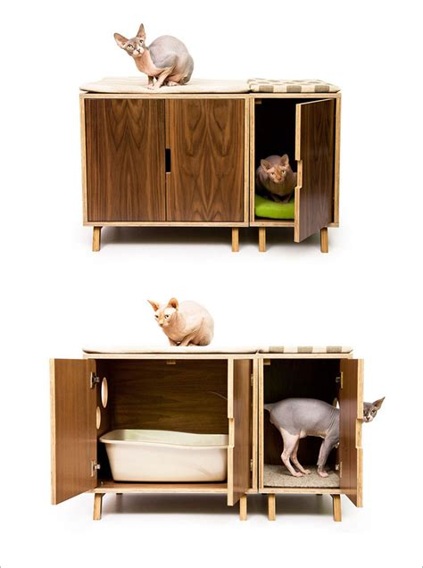 modern cat litter box furniture these mid century modern inspired cabinets hide a cat s