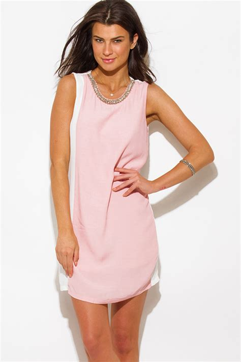 Dress Pendek Mini Dress Two Tone White Pink Sweet Style Shop White Pink Color Block Crepe Bejeweled Cocktail