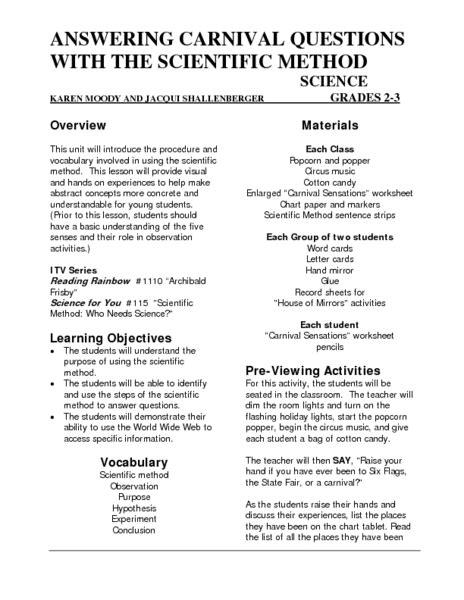 3rd Grade Scientific Method Worksheet by Scientific Method Worksheets 5th Grade Lesupercoin