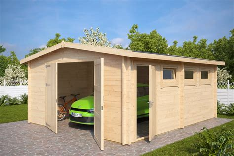 large garages large wooden garage hansa b with double doors 44mm 4 5