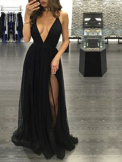 hot    neck tulle split front floor length black