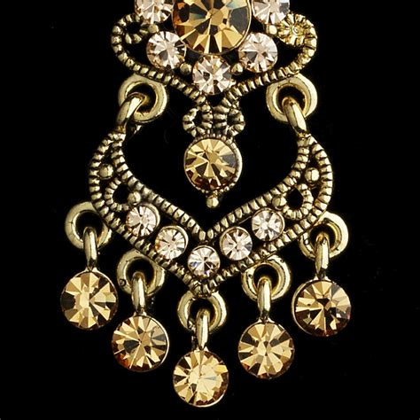 Gold Chandelier Earrings For Wedding Wedding Bridal Gold Plated Topaz Crystals Chandelier