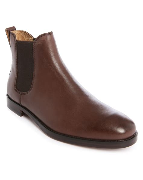 polo ralph dillian brown leather chelsea boots in