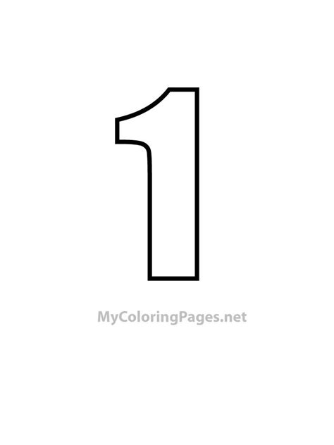 Number 1 Tight Style Numbers Free Coloring Book Pages Number 1 Coloring Page
