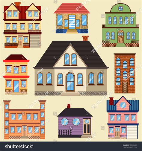 what are the different styles of homes different types houses buildings map other stock vector
