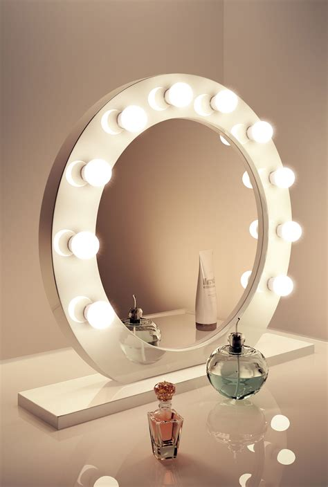 makeup mirror stand with lights high gloss white round hollywood makeup mirror with warm