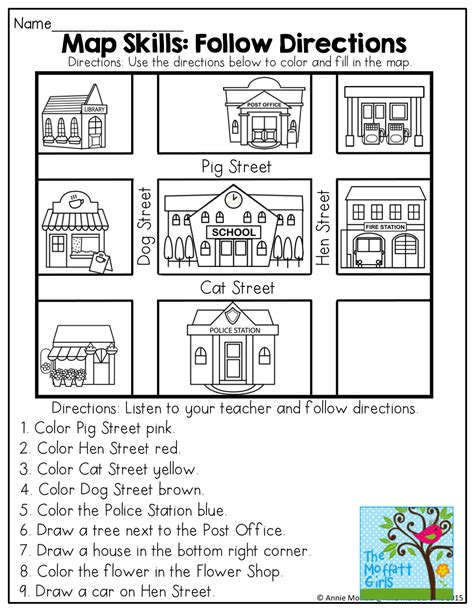 printable directions with map april no prep packet kindergarten map skills social