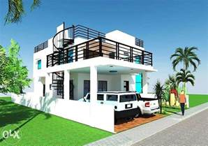 exceptional 2 story house plans #1: 2-Storey-House-Design-With-Roof-Deck-Ideas-1.jpg