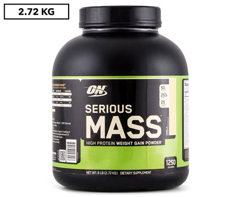 Optimum Nutrition On Serious Mass 2 Kg Repack Trial Size Weight Gainer optimum nutrition serious mass protein powder vanilla 2 72kg great daily deals at australia s