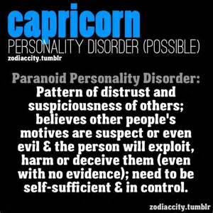 capricorn potential personality disorder psychology