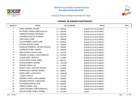 Jurados Electorales Bolivia | jurados electorales tarija elecciones 2014 bolivia