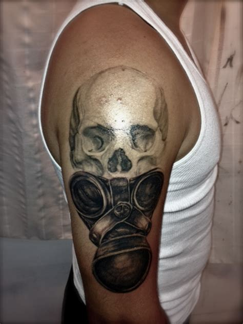 mask tattoos for men skull and gas mask tattoomagz