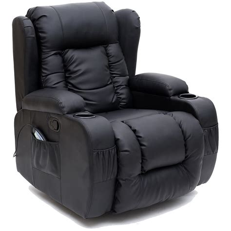swivel rocking reclining armchair winged leather recliner chair rocking massage swivel
