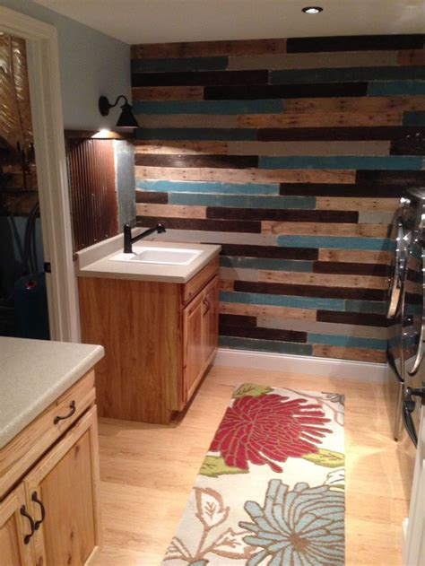 corrugated metal backsplash dream home pinterest finished the laundry room with a rustic painted pallet